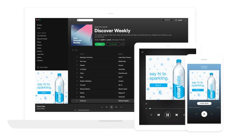 Illustration du companion ad en audio programmatique : bannière dans Spotify