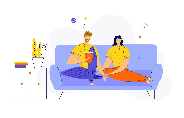 Iluustration - deux personnages sur le canapé regardant la TV